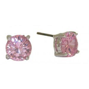 Pink CZ white gold plate 6 mm stud earrings NWT